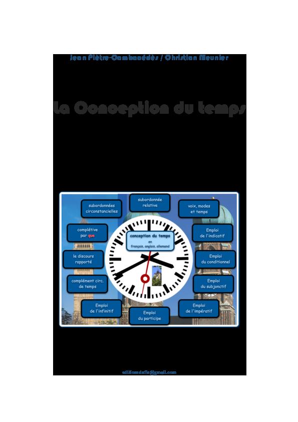 Pdf La Conception Du Temps En Francais Anglais Et Allemand Christian Meunier And Jean Pietre Cambacedes Academia Edu