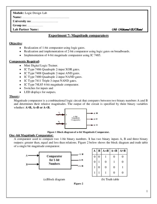 PDF) Experiment 7: Magnitude comparators   Md Awal ... on