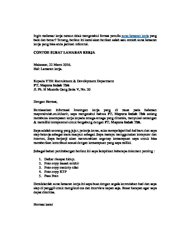 Pdf Surat Lowongan Kerja Risal Faqih Academiaedu