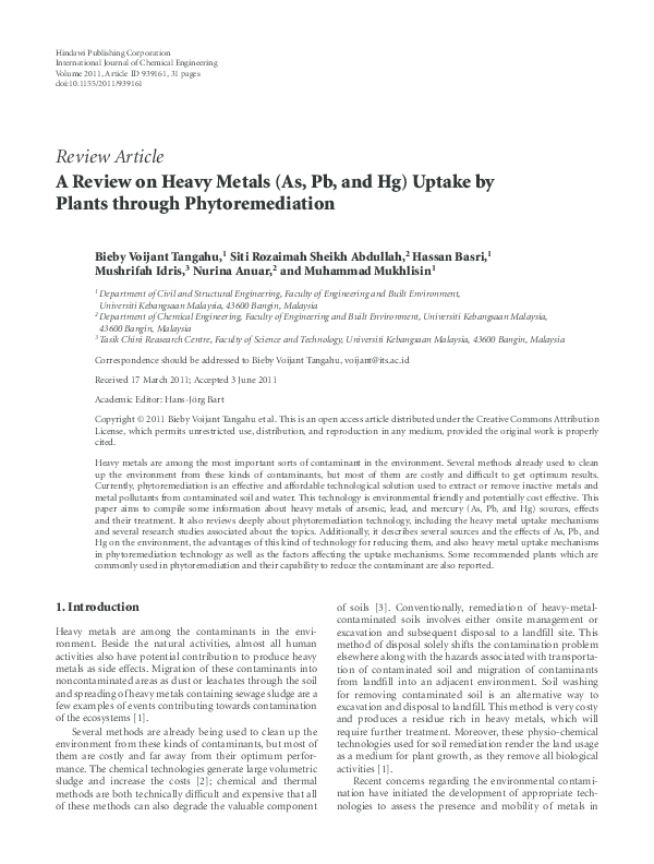 PDF) A Review on Heavy Metals (As, Pb, and Hg) Uptake by Plants