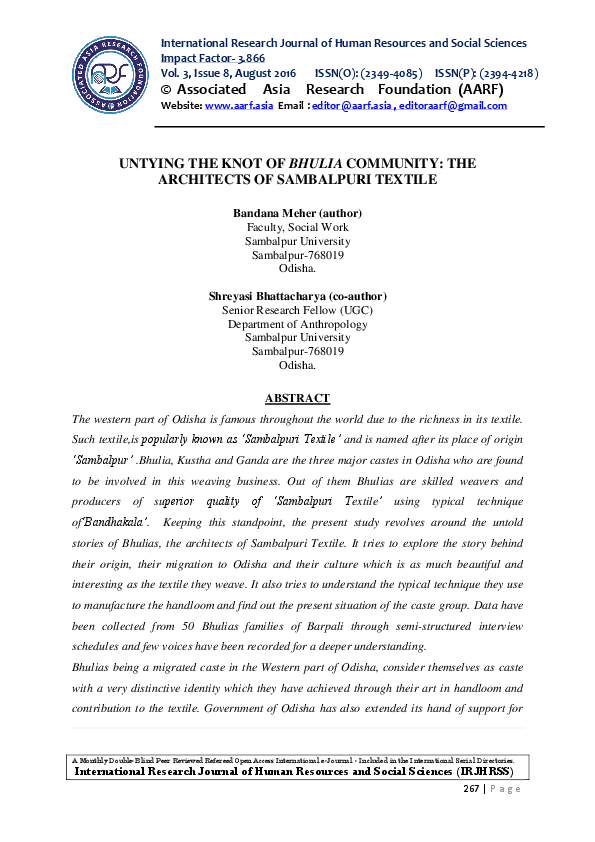 PDF) UNTYING THE KNOT OF BHULIA COMMUNITY: THE ARCHITECTS OF