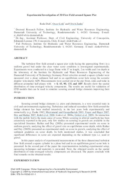 PDF) Experimental investigation of 3D flow field around square pier