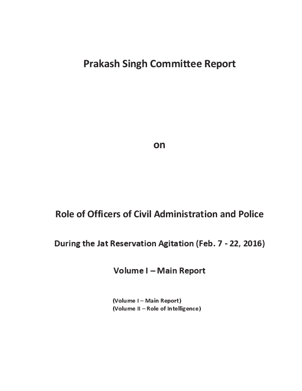 PDF) Prakash Singh Committee Report on Role of Officers of