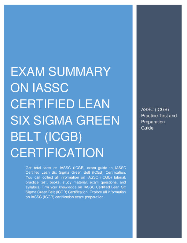 Pdf Exam Summary On Iassc Certified Lean Six Sigma Green Belt Icgb