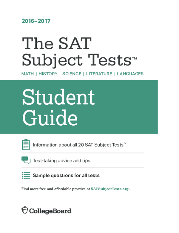 PDF) Student Guide The SAT Subject Tests   Maryam Musnad
