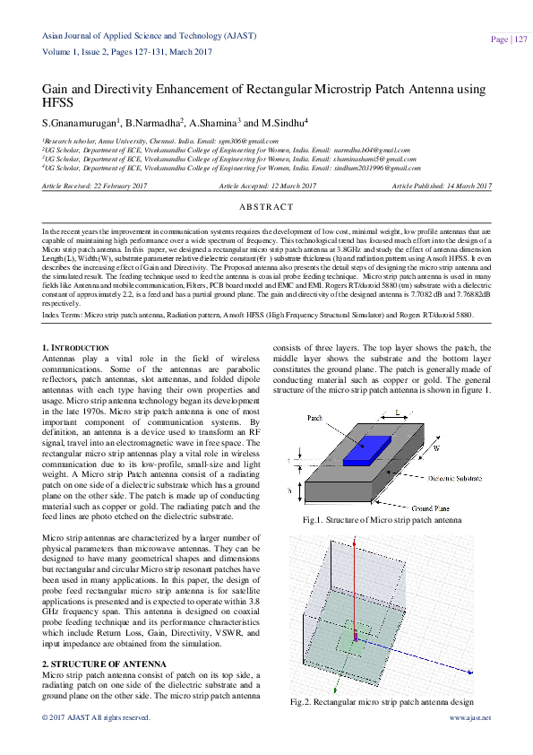 PDF) Gain and Directivity Enhancement of Rectangular Microstrip