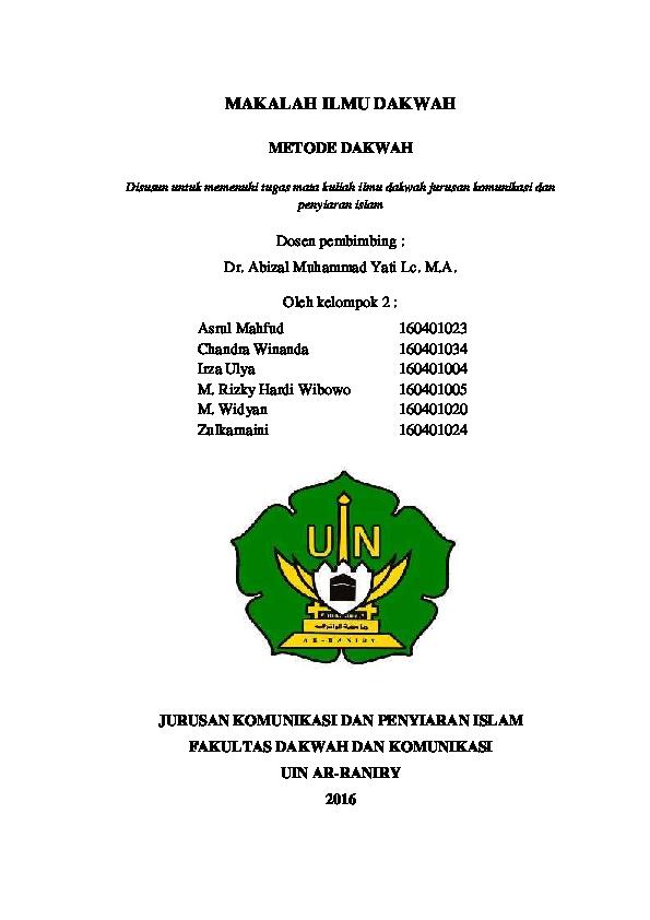 Makalah Ilmu Dakwah Metode Dakwah Asrul Mahfud Academia Edu