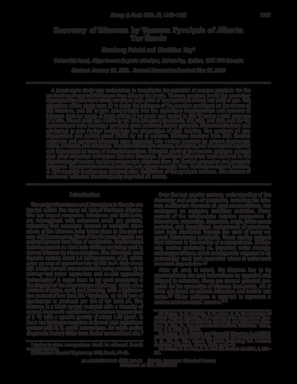PDF) Recovery of Bitumen by Vacuum Pyrolysis of Alberta Tar