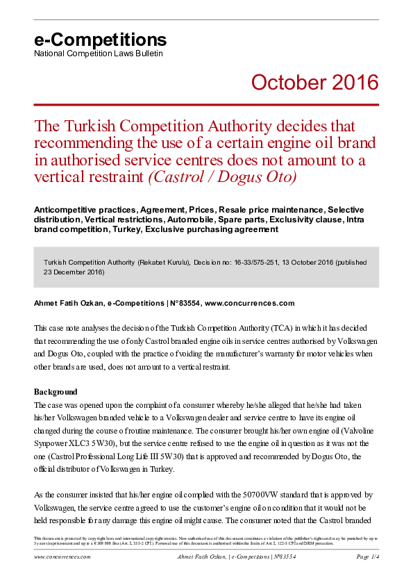 PDF) The Turkish Competition Authority decides that