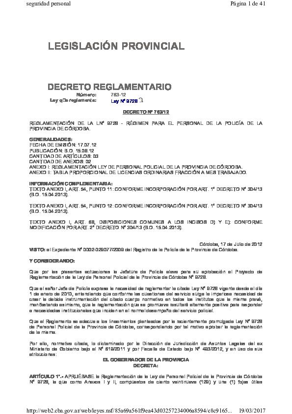 Pdf Legislación Provincial Decreto Reglamentario German