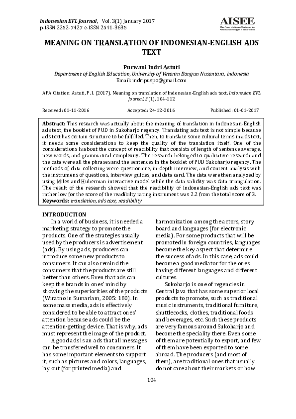 PDF) MEANING ON TRANSLATION OF INDONESIAN-ENGLISH ADS TEXT