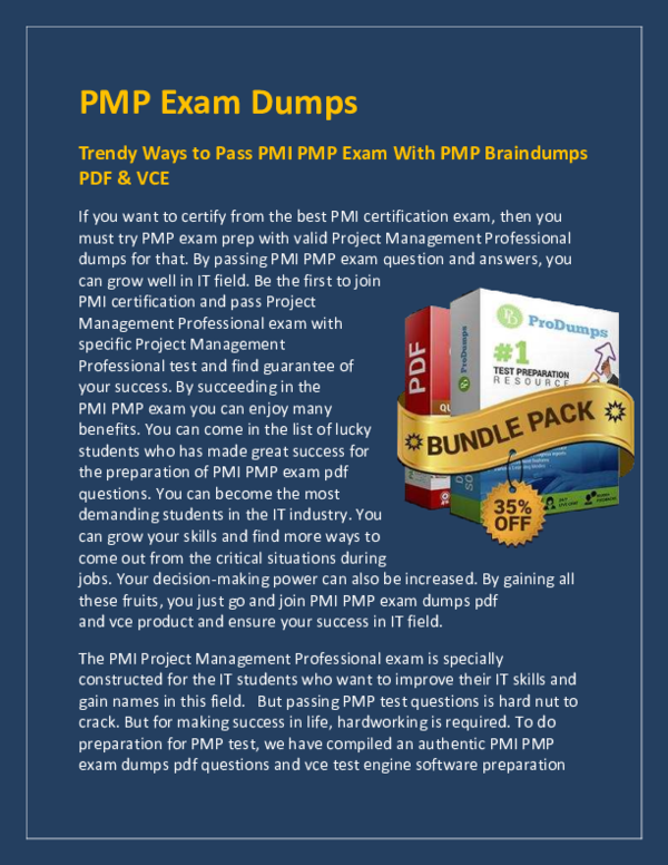 PDF) PMP Dumps for People Who Want to Pass PMP Exam but Cant