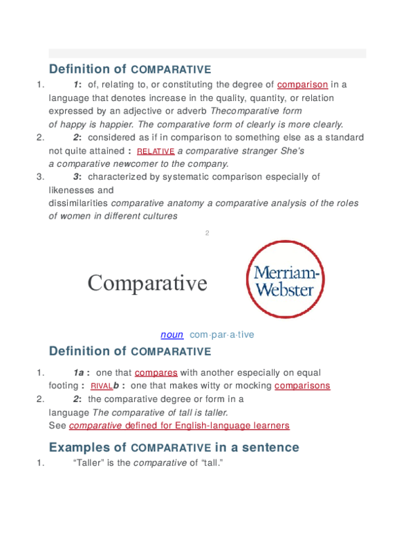 DOC) Definition of comparative | Opoke Dennis Tye - Academia edu