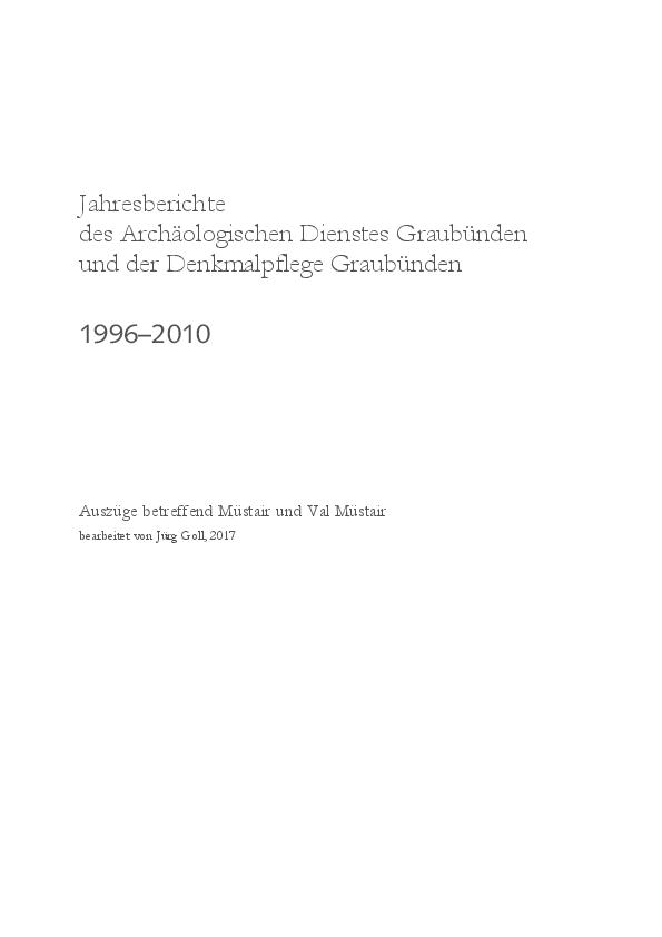 Jürg Goll Jahresberichte Des Archäologischen Dienstes Graubünden
