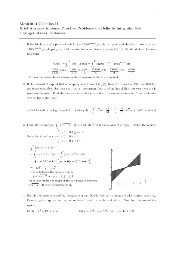 PDF) Math1014 Calculus II Brief Answers to Some Practice