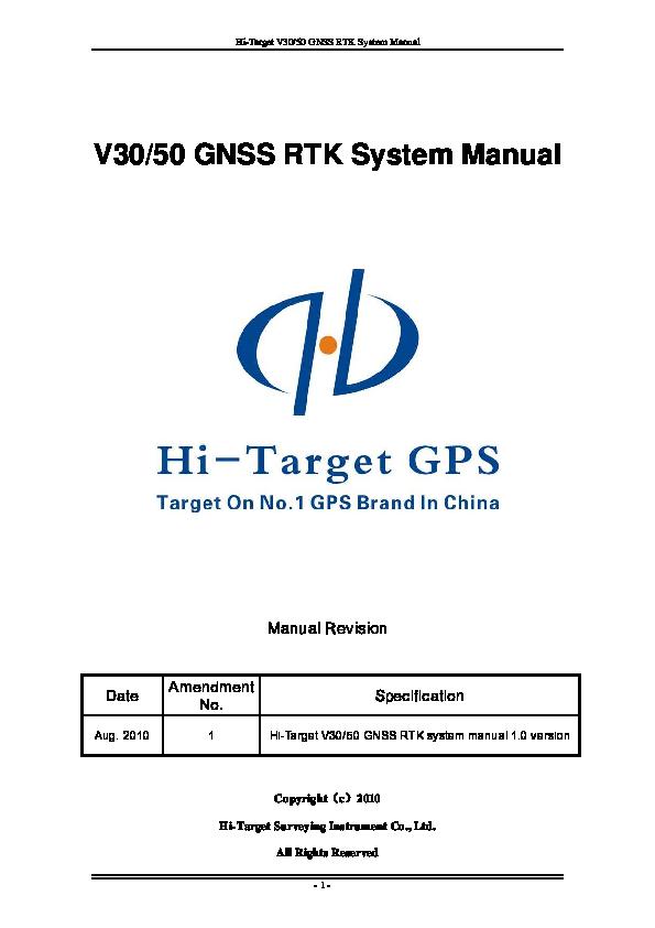 PDF) Hi-Target V30/50 GNSS RTK System Manual -1 - V30/50