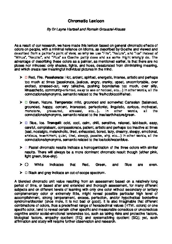 PDF) Chromatic Lexicon | Romain Grouazel-Krauss - Academia edu