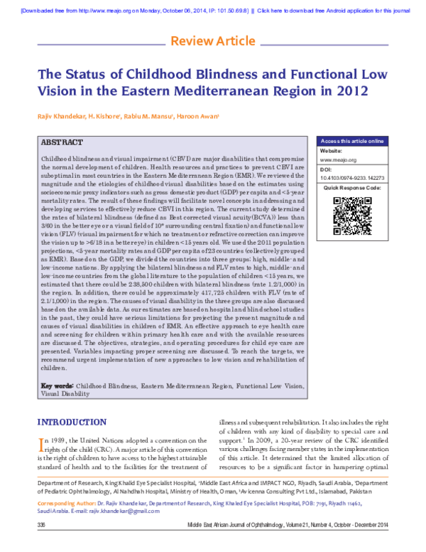 PDF) The Status of Childhood Blindness and Functional Low