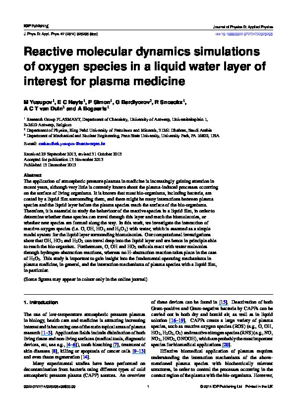 PDF) Reactive molecular dynamics simulations of oxygen