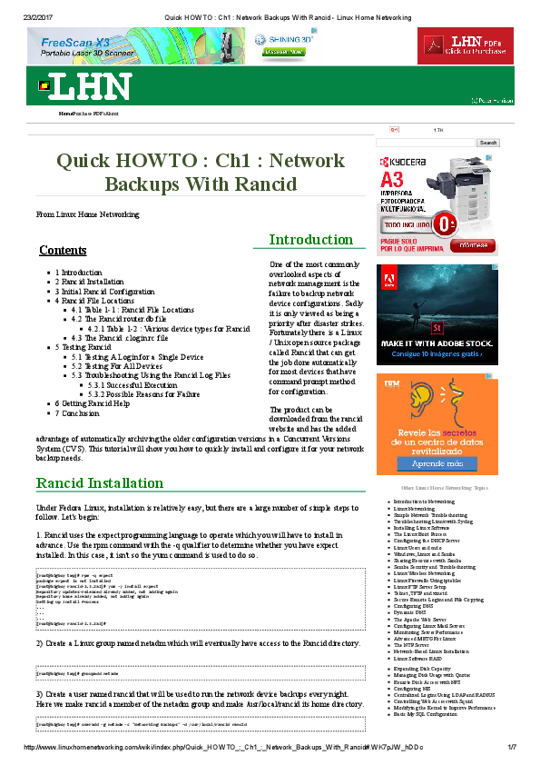 PDF) Quick HOWTO Ch1 Network Backups With Rancid - Linux