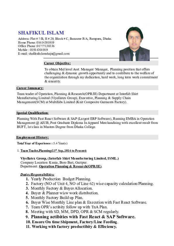 DOC) Resume of Shafikul Islam | Shafikul Islam - Academia edu
