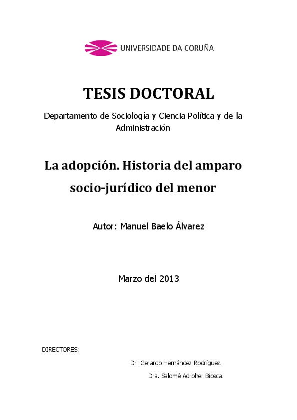 Pdf La Adopción Historia Del Amparo Socio Jurídico Del
