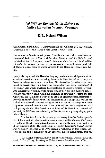 PDF) Na Wahine Kanaka Maoli Holowa'a: Native Hawaiian Women