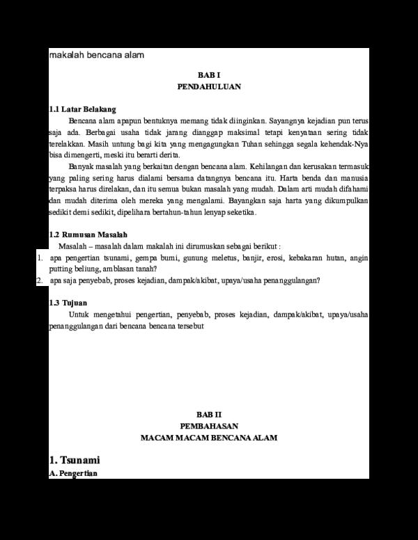Doc Makalah Bencana Alam Dodik Dian Academia Edu