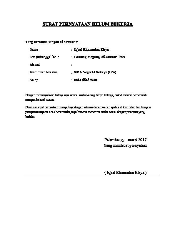 Contoh Surat Pernyataan Belum Bekerja Bermaterai 6000 ...