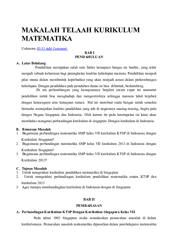 Makalah Matematika Smp Contoh Makalah