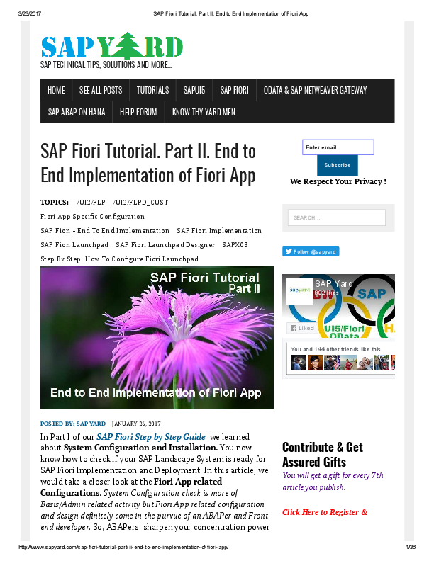 PDF) SAP Fiori Tutorial  Part II  End to End Implementation of Fiori