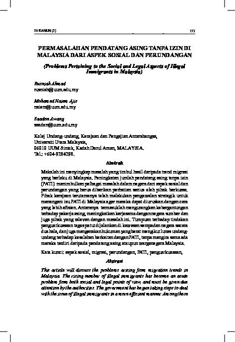 Pdf Permasalahan Pendatang Asing Tanpa Izin Di Malaysia Dari Aspek Sosial Dan Perundangan Problems Pertaining To The Social And Legal Aspects Of Illegal Immigrants In Malaysia Just Syrup Academia Edu