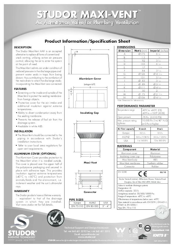 PDF) STUDOR MAXI-VENT STUDOR MAXI-VENT Air Admittance Valve