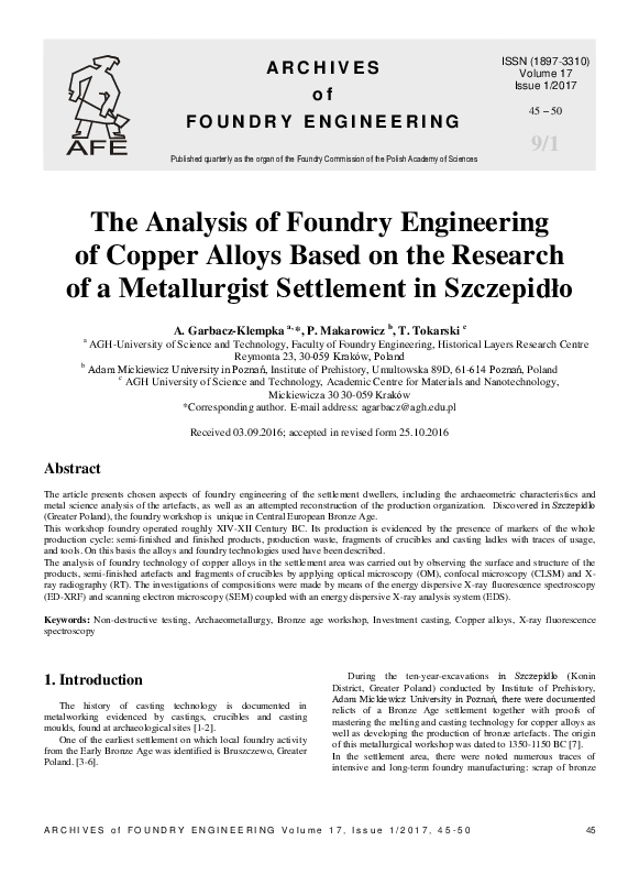 The Analysis of Foundry Engineering of Copper Alloys Based