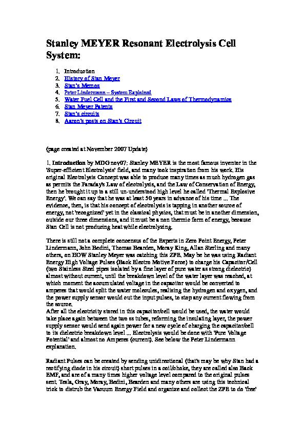 PDF) Stanley MEYER Resonant Electrolysis Cell System   Ihim ... on