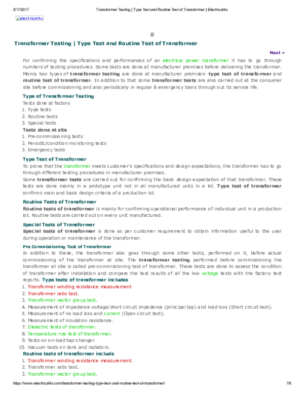 PDF) Transformer Testing Type Test and Routine Test of