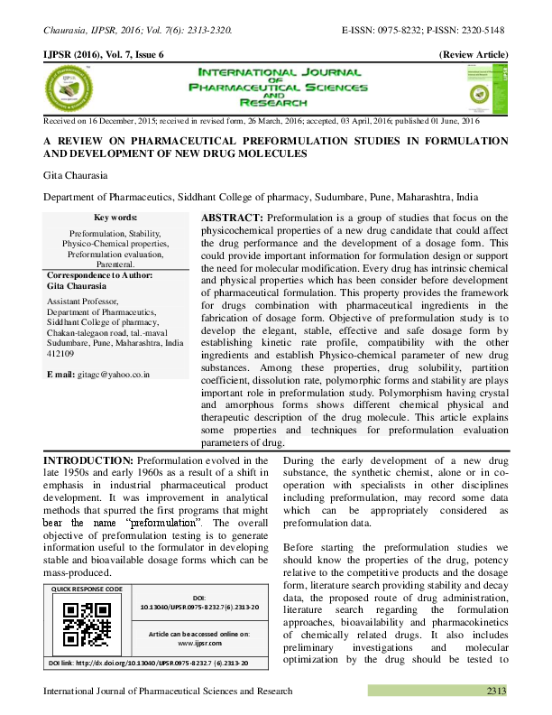 PDF) A REVIEW ON PHARMACEUTICAL PREFORMULATION STUDIES IN