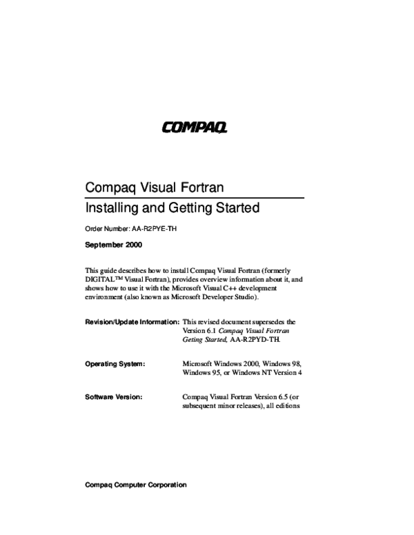 PDF) Compaq Visual Fortran Installing and Getting Started