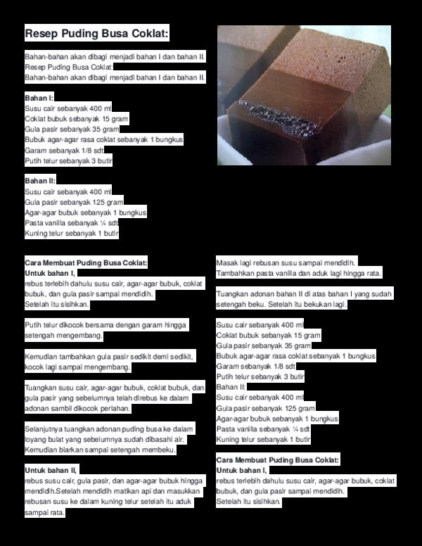 Doc Resep Puding Busa Coklat Fram Fram Academia Edu