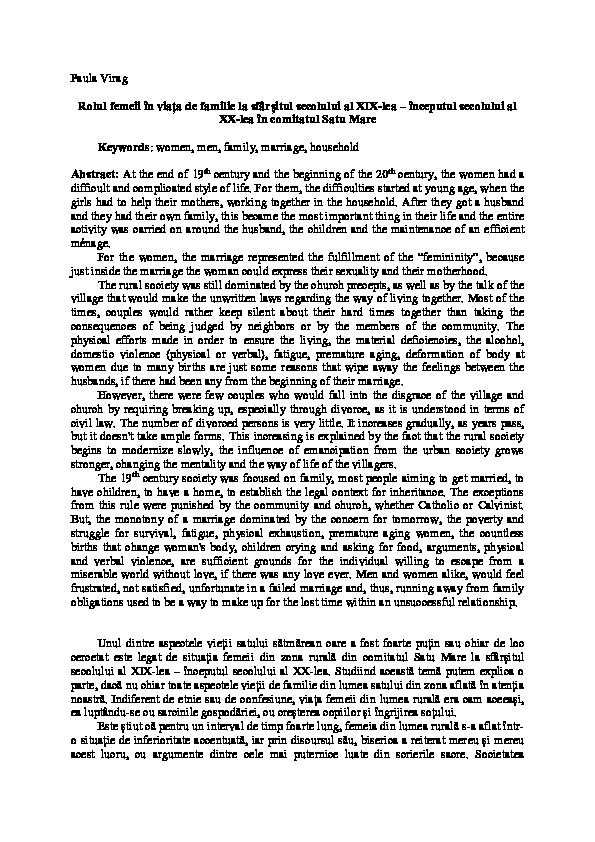 Statutul femeii in secolul al xix lea