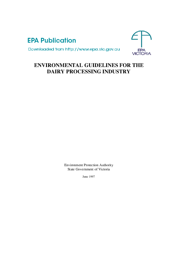 PDF) ENVIRONMENTAL GUIDELINES FOR THE DAIRY PROCESSING INDUSTRY