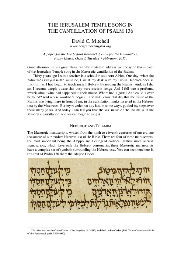 PDF) THE JERUSALEM TEMPLE SONG IN THE CANTILLATION OF PSALM