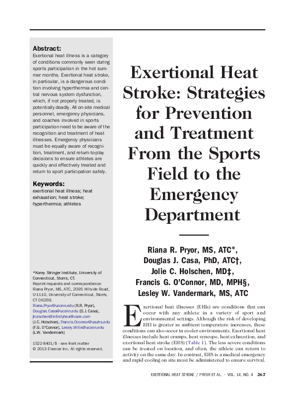 PDF) Exertional Heat Stroke: Strategies for Prevention and