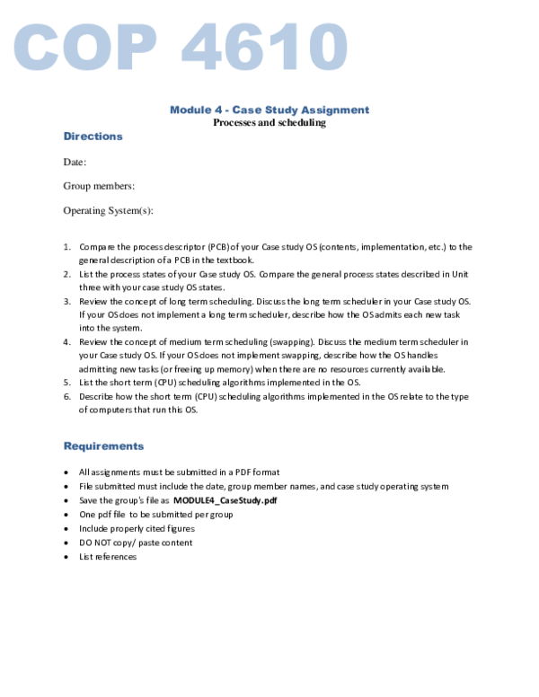 PDF) COP 4610 Module 4 -Case Study Assignment | Jack Jean