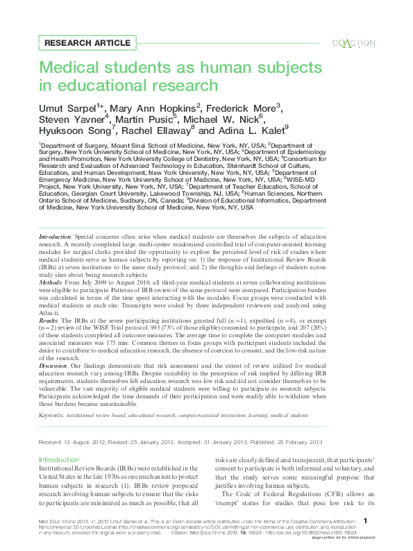 PDF) Medical students as human subjects in educational