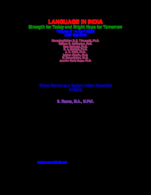 dissertation on girish karnad