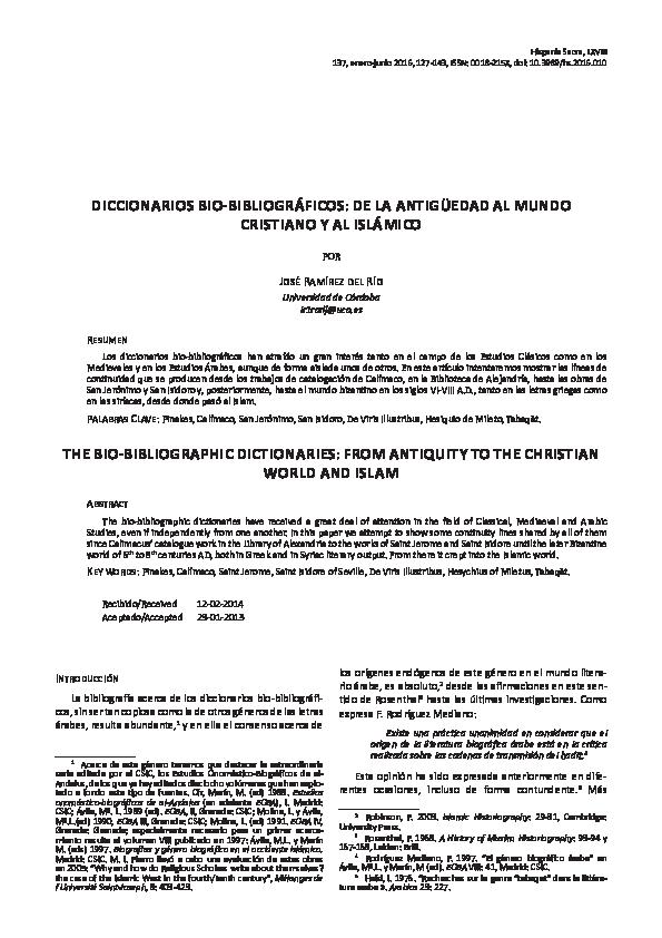 Pdf Diccionarios Bio Bibliograficos De La Antiguedad Al Mundo