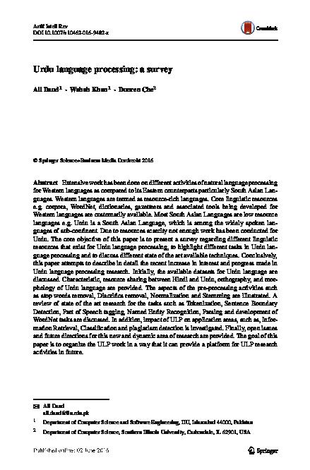 PDF) Urdu language processing: a survey | Ali Daud Associate