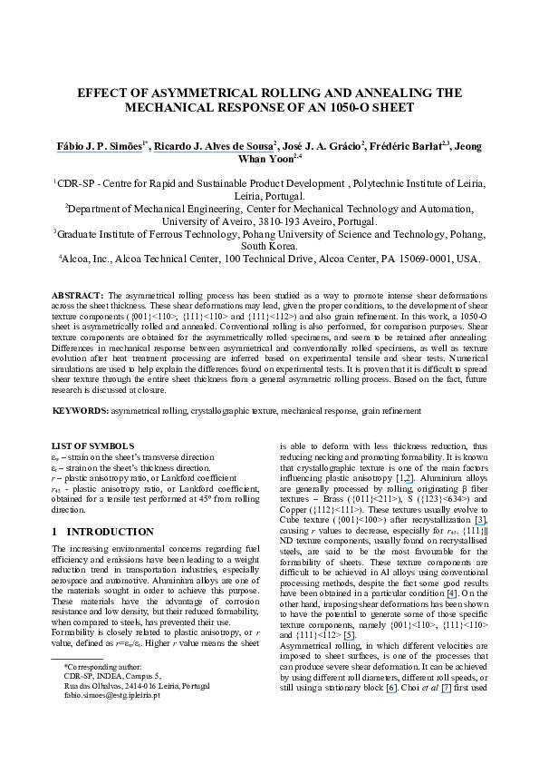 PDF) Effect of asymmetrical rolling and annealing the mechanical