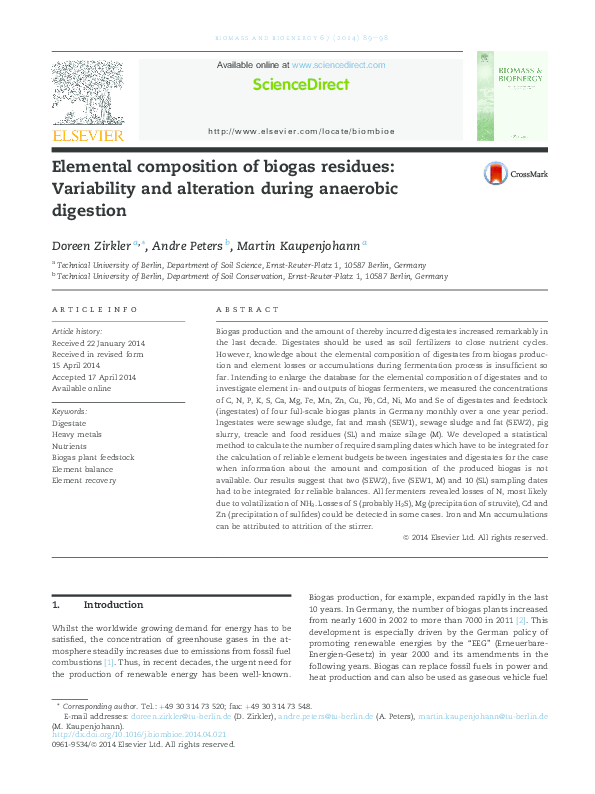 PDF) Elemental composition of biogas residues: Variability